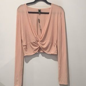 Wild Fable Cropped tie blouse